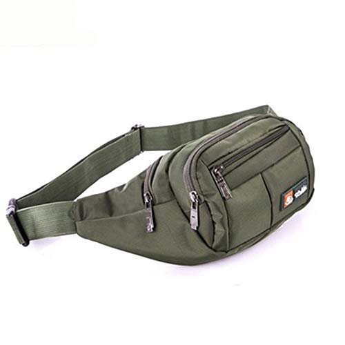 Bumbag Layer Nylon Sports Pockets Men's Personal Business Money Bag Chest Bag Bumbags Travel Hiking Outdoor Sports (Color : Army green)