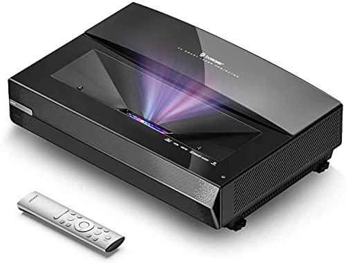 Bomaker Proyector Láser 4k TV Tiro Ultracorto, 2500 ANSI, Dolby Audio, HDR 10 MEMC Operación Silenciosa 25dB 30.000 Horas, Relación de Contraste Dinámico de 15.000: 1, Pantalla Grande de 100 Pulgadas