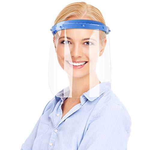 Gesichtsschutz Visier, UNTIRE Transparentes Gesichtsvisier mit Verstellbarem Gummiband, mit Wiederverwendbarer, Atmungsaktiver, Anti Fog Schutzmaske (2 Halterungen + 10 Ersatzvisieren)