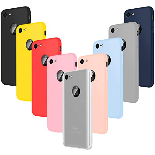 Leathlux 9 × Coque iphone 7 Étui Silicone, [Ultra Mince] Souple TPU Housse Protection Doux Gel Skin Coque pour iphone 7 4.7' Rose,Rose Clair,Gris,Bleu Ciel,Jaune,Rouge, Bleu Foncé,Translucide, Noir