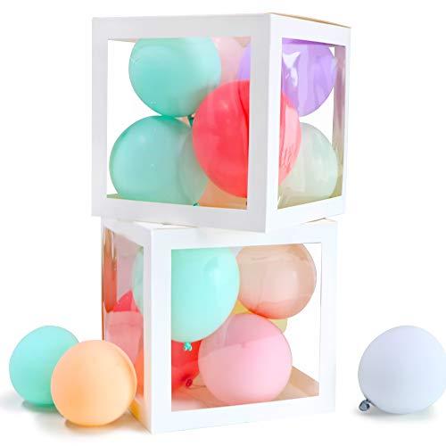 VINFUTUR 2 Stücke Leer Ballonbox Transparente Luftballon-Box für Hochzeit Geburtstag Baby Shower Überraschungsbox Party Dekorationen