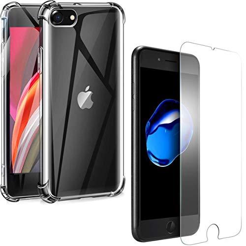 Carcasa trasera antichoques y protector de pantalla transparente para iPhone 8/7.