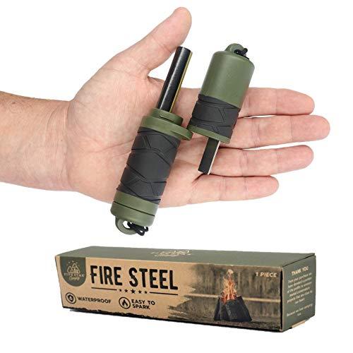 Emergency Fire Starter Ferro Rods Flint. Add a Weatherproof ferrocerium Stick (Striker & firesteel) & Compass to Your Emergency Camping Survival kit. Easy to Grip.