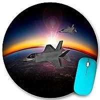 KAPANOU ラウンドマウスパッド カスタムマウスパッド、夕暮れ近くの高度30,000フィートでのF-35ライトニングII航空機のアーティストの印象、PC ノートパソコン オフィス用 円形 デスクマット 、ズされたゲーミングマウスパッド 滑り止め 耐久性が 200mmx200mm