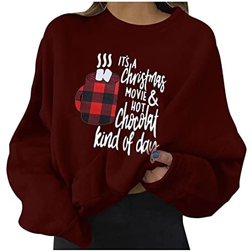 Women's Merry Christmas Long Sleeve Sweatshirt Fall/Winter Christmas Casual Top Pullover Red Christmas Digital Print Sweatshirt (White, M)