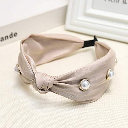 Empty Frais Doux et Mignon Sauvage Bandeau de Perles de Couleur Unie Femmes Accessoires de Cheveux de Mode-Beige