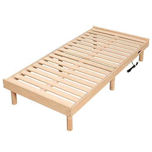 WLIVE すのこベッド 100%天然木 ベッドフレーム シングルベッド コンセント付き 木製ベッド 高さ3WAY調節 脚付き 耐久性 通気性 頑丈 北欧パイン 一人暮らし シンプル ACH601YS
