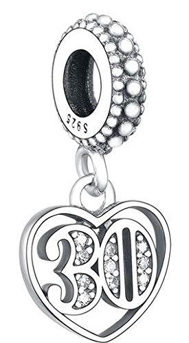 MariaFonte Bead Charm per i 30 Anni in Argento Sterling 925, Compatibile con Le più Diffuse Marche di Braccialetti e collane.