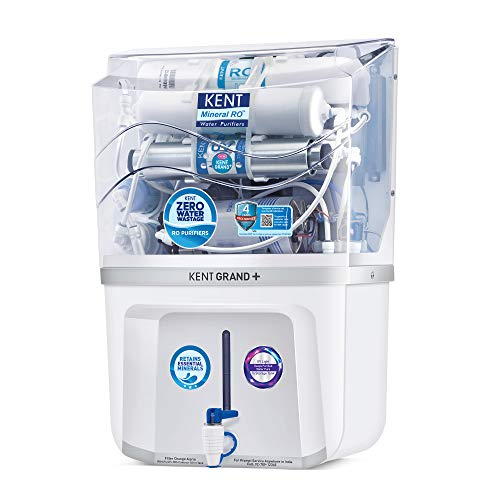 KENT Grand+ ZWW 9 LTR Mineral RO+UV+UF+TDS Control + UV in Tank, 11099- White