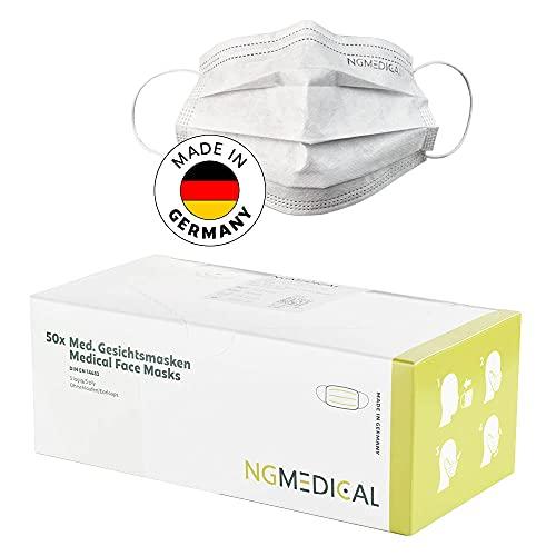 NGMEDICAL 50x Medizinischer Mundschutz Weiß CE Zertifiziert, Ohne Farbstoffe, Made in Germany & gefördert vom Bundesministerium für Wirtschaft & Energie, OP Maske Typ IIR, DIN EN 14683, BFE ≥ 98%