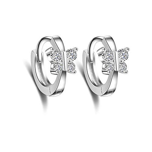 Graziosi orecchini a cerchio in argento Sterling con zirconia cubica e cristalli rotondi, per donne e adolescenti e ragazze