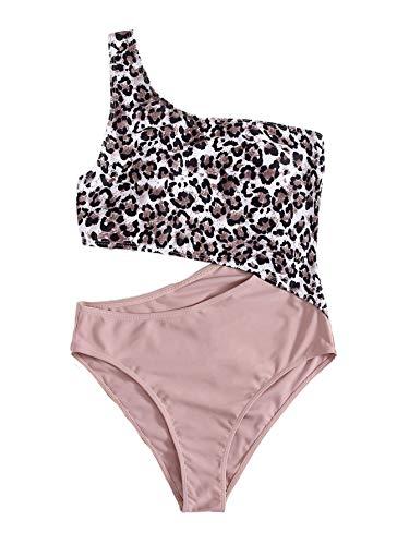 SweatyRocks Women's Bathing Suits One Shoulder Cutout One Piece Swimsuit Swimwear Monokini Leopard Pink Large