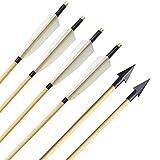 ZSHJG 6pcs Frecce in Legno Tiro con L'Arco Frecce in Turchia Frecce Tradizionali in Legno per Alberi Frecce Bersaglio da Caccia con Punta a Freccia per Arco Ricurvo Arco Lungo (Tipo 4)