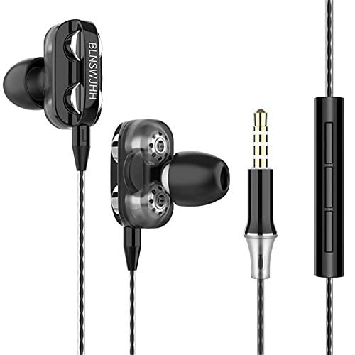 BingThL Auriculares intraurales con cable de 3,5 mm, con micrófono, Hi-Fi, estéreo, con aislamiento de ruido, con micrófono y control de volumen.