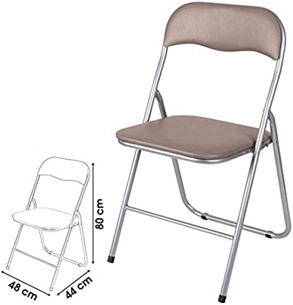 Brown 44X48XH80CM Unibos Have Duty Folding Chair Taupe//Home Padded Folding Office Chair//PU Leather Folding Seat Backrest PVC Folding Chair-