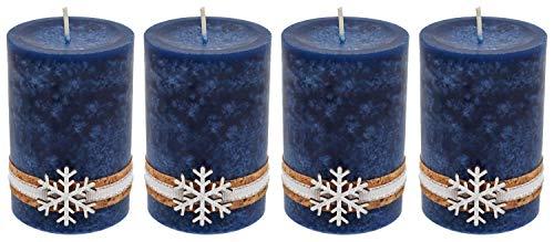 ZauberDeko 4 Adventskerzen Kerzen Stumpenkerzen Blau Dunkelblau Schneeflocke Holz Advent Weihnachten Deko Tischdeko