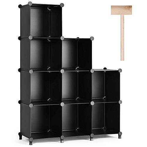 Puroma Cube Storage Organizer 9-Cube Closet Storage Shelves with Wooden Hammer DIY Closet Cabinet Bookshelf Plastic Square Organizer Shelving for Home, Office, Bedroom - Black