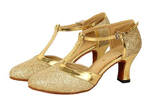 Honeystore Damen's Geschlossene Zehe T-Riemen Glitter Tanzschuhe Gold 6 UK - 5