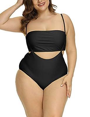 Allegrace Women Plus Size Swimsuits Two Piece Tube Top High Waist Bathing Suit Black 4X