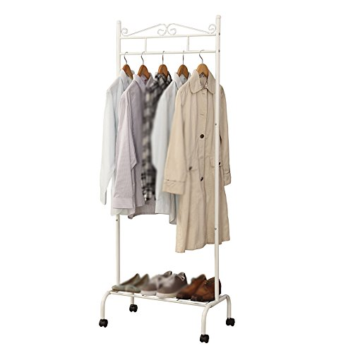 ZfgG Negro, Blanco Perchero Foyer/Zapatero combinación Perchero/Dormitorio Perchero de pie/Ropa móviles Simples de Rack / (64 * 39 * 172cm) (Color : White)