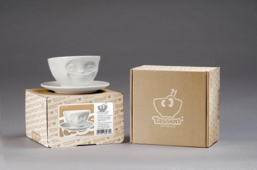 Fiftyeight Kaffeetasse GRINSEND ca. 200ml / weiß
