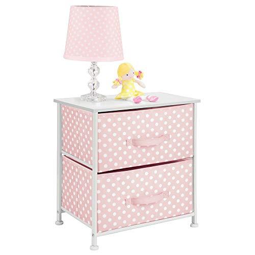 mDesign Kinderschrank Organizer mit 2 Schubladen – Kinder Kleiderschrank aus atmungsaktiver Kunstfaser mit Punkte-Muster – Stoffkleiderschrank für das Kinderzimmer – rosa und weiß