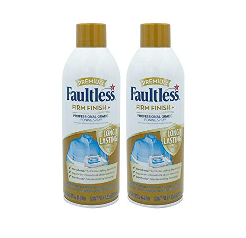 FAULTLESS Starch Spray for Clothes – Premium Firm Finish (15oz 2 Pack) Professional Iron Spray Starch for Clothes & Fabric – No Stick Iron Spray, No Flaking or Clogging