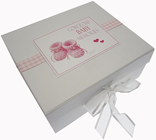 White Cotton Cards Gorgeous Baby Memories, petite boîte souvenir Chaussons, Rose