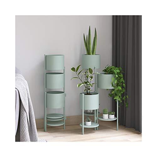 Storage Rack Simple Flower Pot Shelf Indoor Flower Pot Shelf Wrought Iron Multi-Layer Floor Shelf Living Room Balcony Decoration Shelving (Color : Light Green)