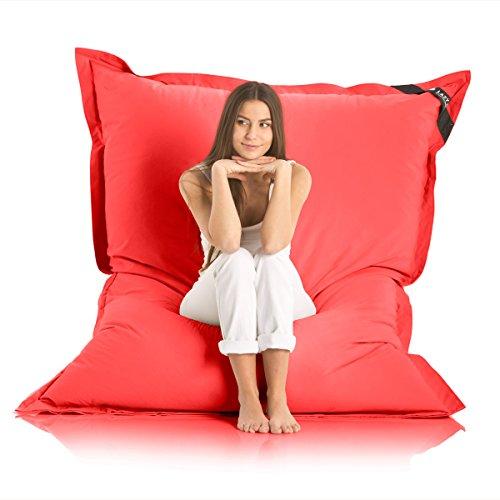Lazy Bag Original Indoor & Outdoor Sitzsack XXL 400L Riesensitzsack Sitzkissen Sessel für Kinder & Erwachsene 180x140cm (Rot)