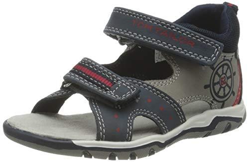 Tom Tailor 1173801 Sandale, Navy-Grey-red, 25 EU