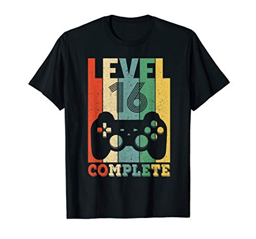 Herren 16. Geburtstag Geschenk Level 16 Junge Gamer Zocker Party T-Shirt