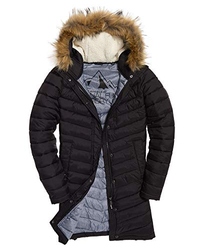 Superdry Damen Chevron Faux Fur Super Fuji Jk Sportjacke, Schwarz (Black 02a), Medium (Herstellergröße: 12.0)
