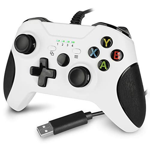 Wired Controller for Xbox One,Upgraded Xbox one Wired Controller Remote Gamepad for Xbox One/S/X/Elite/PC Windows(White)