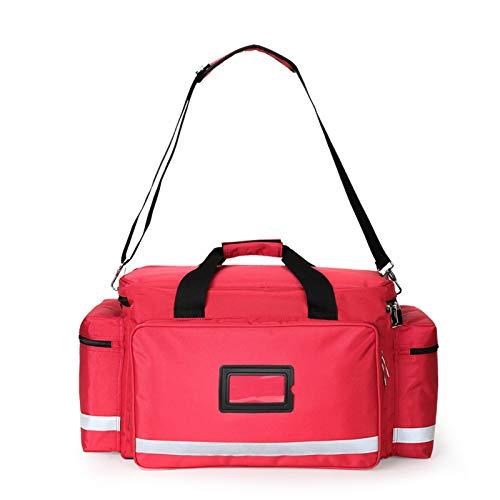 Torba na artykuły medyczne, duża torba dla zdrowia domowego z boczną podwójną torebką Multipl i dużą komorą, pusta torba na artykuły awaryjne na wizyty domowe, opiekę zdrowotną, hospice. (czerwony, 55 cm * 45 cm * 30 cm)