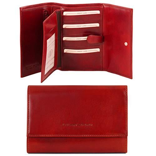 Tuscany Leather Esclusivo portafogli in pelle da donna 4 ante Rosso