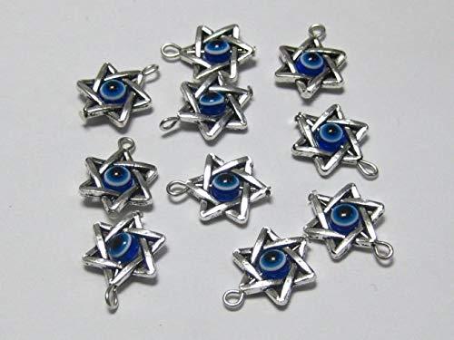 K-ONE Colgantes del Encanto del Ojo de la Estrella de David del Color Plateado del Tíbet-Predeterminado