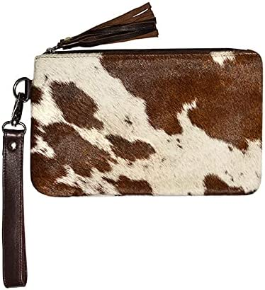 Real Cowhide Natural Brown & White Wristlet Women Clutch - Brown White Cow Hide Cow Skin Leather Hair On Wristlet Purse