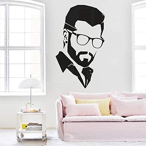 Hermoso hombre vinilo etiqueta de la pared decoración de la peluquería etiqueta de la pared