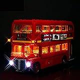 Juego Luces LED Juego Luces para Creator Expert London Bus Model Juego Luces Iluminación Compatible con Lego 10258 (Solo Luz LED, Sin Kit Bloques de Construcción)