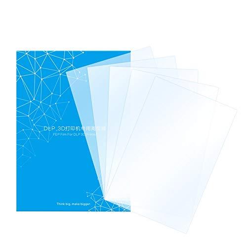 HAWKUNG 5 Pezzi Pellicola di Rilascio FEP, 200 x 140 mm 0,15-0,2 mm Foglio di Separazione Trasparente Spesso per Stampante 3D UV 3D in Resina Fotonica o Accessorio Stampante DLP 3D SLA