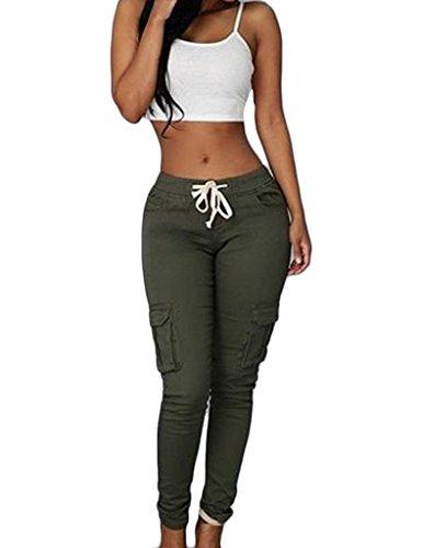 Bestgift Femme Pantalon Collant Ceinture à Lacet Sportif Vert armé XL