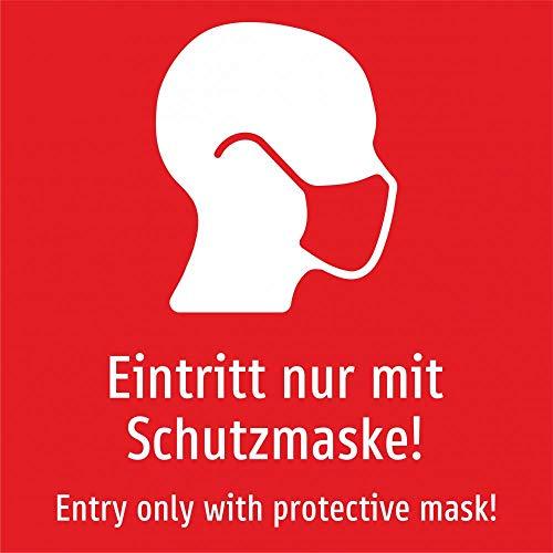 Eintritt nur mit Schutzmaske! Deutsch und Englisch (rot) - 400 x 400 mm, Aufkleber
