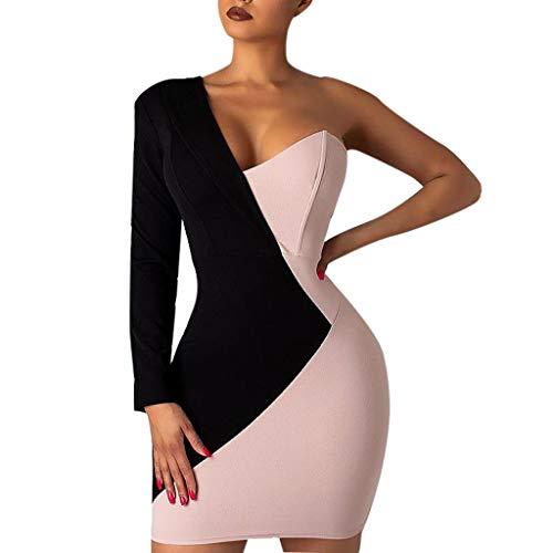 Briskorry elegante kleider damen Sexy Cocktailkleider Eine Schulter Lange Ärmel Abiballkleid Wickelkleid Nähen Bodycon Paket Hip Kleid Festkleider Minikleid Dress