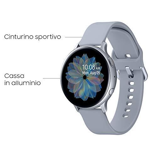 Samsung Galaxy Watch Active2 Smartwatch Bluetooth 44 mm in Alluminio e Cinturino Sport, con GPS, Sensore di Frequenza Cardiaca, Tracker Allenamento, IP68, Argento (Silver) [Versione Italiana]