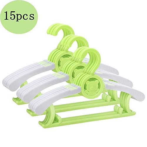 ベビーハンガー—滑り止めスライドハンガー アーム伸縮可能—フクはロープ掛けに対応 15本セット 0〜12歳適合 洗濯 干物し ハンガー(green)