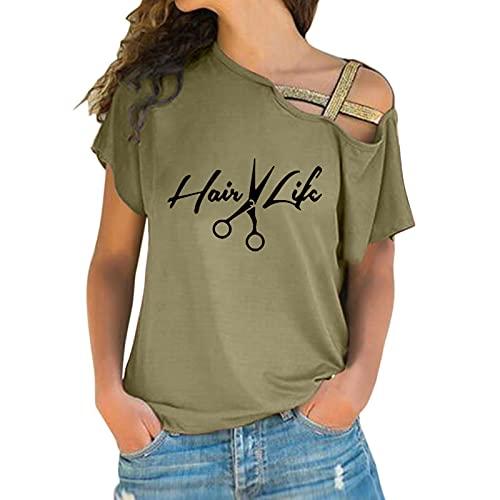 BIBOKAOKE Camiseta de manga corta para mujer, estilo informal, para verano, con estampado, Grün51., S