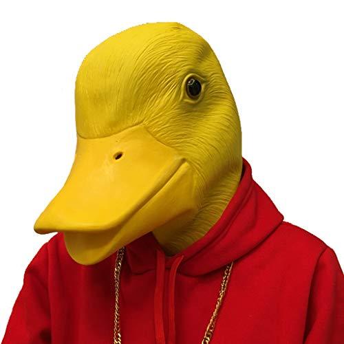 QMMD Latex Tier Maske - Halloween Maske - Entenkopf Maske - für Halloween Cosplay Party,Gelb