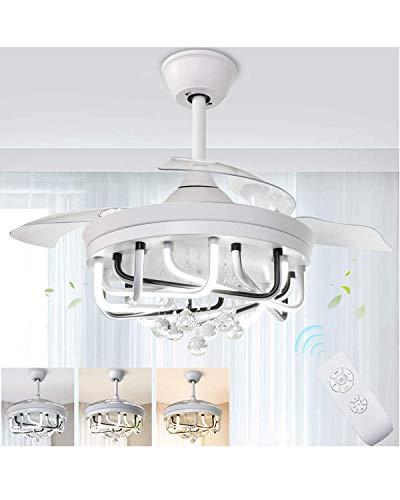 HAITOY Ventilador de Techo con Iluminación y Mando a Distancia, LED Invisibles de Luces Lámpara de Techo Retráctil, 3 Niveles Ajustables, Función Verano e Invierno, 28dB, Temporizador para Dormitorio