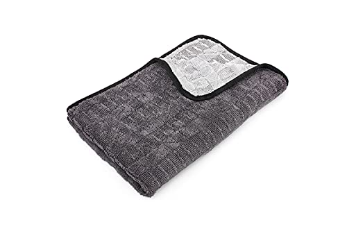 The Rag Company - The Gauntlet Microfiber Drying Towel - 70/30 Blend Korean Microfiber, Designed to Dry Vehicles Faster, More Thoroughly & More Gently Than Others, 900gsm, 20in x 30in, Ice Grey + Grey